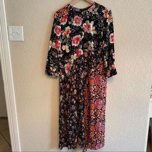 Black Multi-pattern Zara dress with front slit